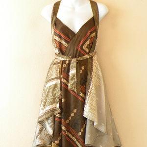 Silk Vintage Brown One Shoulder Tube Dress Skirt